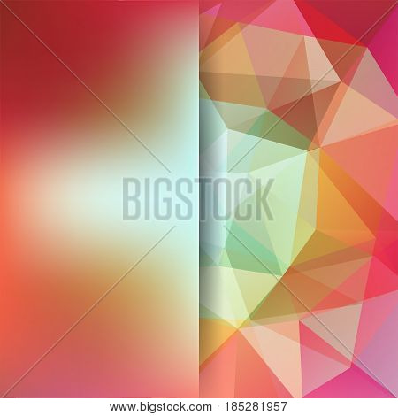 Background Of Orange, Green, Pink, White Geometric Shapes. Blur Background With Glass. Colorful Mosa