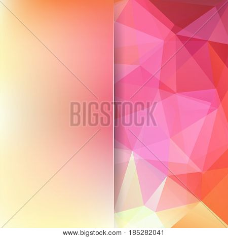 Background Of Pink, Orange, Yellow Geometric Shapes. Blur Background With Glass. Colorful Mosaic Pat