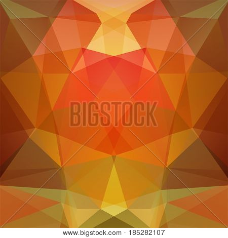 Background Made Of Orange Triangles. Square Composition With Geometric Shapes. Eps 10