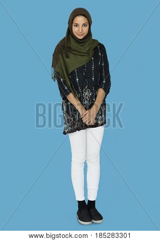 Happiness middle eastern woman smiling casual studio portrait