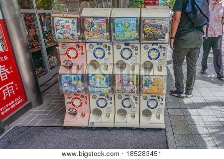 OKINAWA JAPAN - April 22 2017: Capsule-toy vending machine or Gashapon in Japanese language.