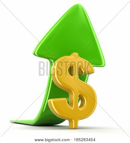 3D Ilustration. Dollar sign with arrow up. Image with clipping path