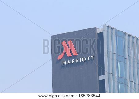 HANGZHOU CHINA - NOVEMBER 6, 2016: Marriott Hotel . Marriott Hotel is an American multinational diversified hospitality company that manages and franchises a broad portfolio of hotels.