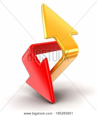 3D Ilustration. Two arrows. Image with clipping path
