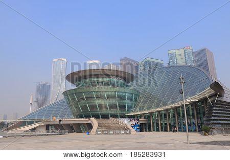 HANGZHOU CHINA - NOVEMBER 6, 2016: Contemporary architecture  of Hangzhou Grand Theater.