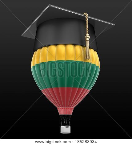 3D Ilustration. Hot Air Balloon with Lithuanian flag and Graduation cap. Image with clipping path