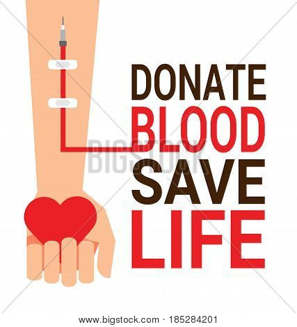 Hand of blood donor with heart for World Blood Donor Day poster