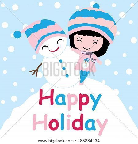 Cute girl and snowman on snow hill vector cartoon, Xmas postcard, wallpaper, and greeting card, T-shirt design for kids