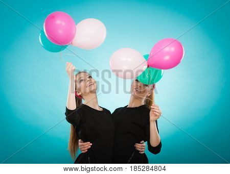 Women Like A Little Girls Want Fly Away By Balloons.