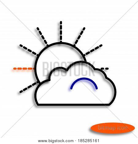 A simple raster linear image of a cloud covering the sun a line icon for an agricultural farm.
