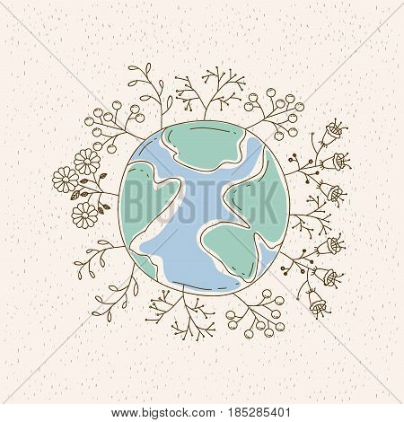 watercolor card of planet earth surrounded by plants and trees vector illustration