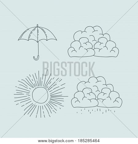 monochrome graphic with climate icons set vector illustration