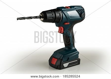 cordless drill screwdriver battery on a light background