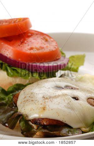 Portobello Mushroom Burger Served Open Faced