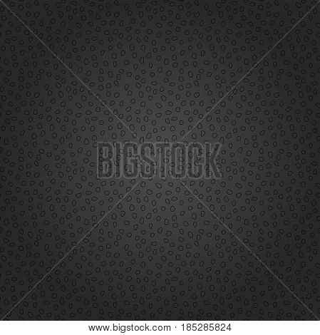 Seamless dark background with random black elements. Tileable ornament. Dotted abstract background