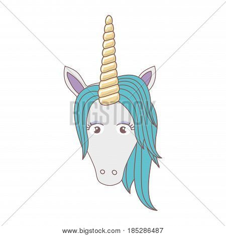 white background with front face of unicorn and blue mane vector illustration