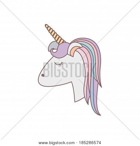white background with face side view of female unicorn and color striped mane vector illustration
