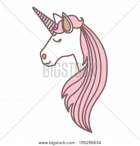 white background with face side view of female unicorn and long striped mane vector illustration