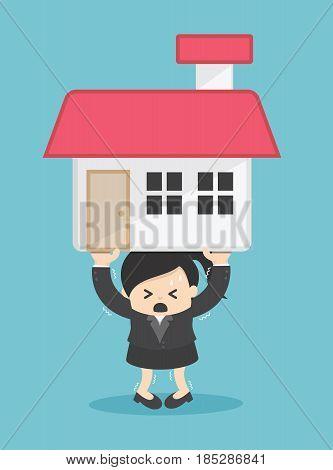Business woman Debt Cartoon Vector Illustration eps. 10