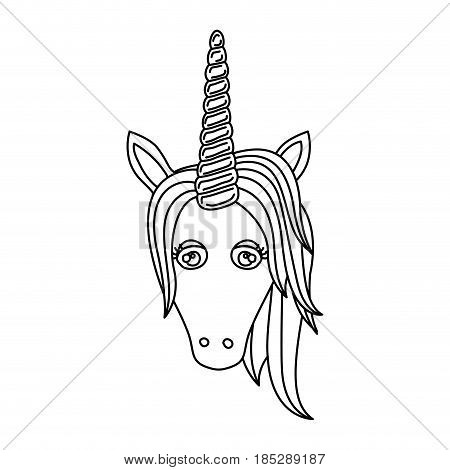 monochrome silhouette of front face of unicorn with mane vector illustration