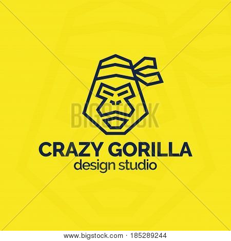 Crazy gorilla emblem with head gorilla black color line style isolated on yellow background for use design studio, zoo, animal shop, pet store etc. Vector Illustration