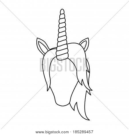 monochrome silhouette of front face of faceless unicorn with mane vector illustration