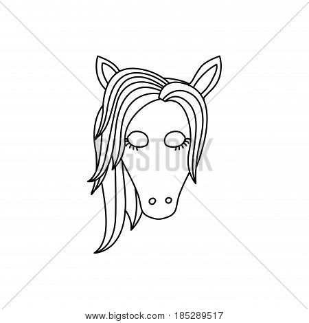 monochrome silhouette of front face of female unicorn with closed eyes and mane to left side vector illustration