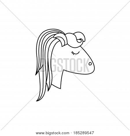 monochrome silhouette of face side view right of female unicorn with striped mane vector illustration