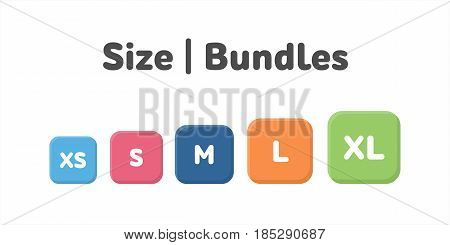 Different Size Bundle Icons Set. Literal Measurement Symbol Vector Illustration. Labels From Extra S