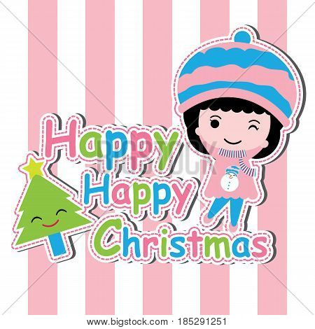 Cute girl and Xmas tree on pink striped background vector cartoon, Xmas postcard, wallpaper, and greeting card, T-shirt design for kids