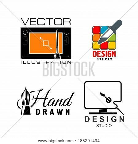 Design vector icons for graphic design and illustration school. Art production agency or designer service company symbols of artist palette and paint brushes, drawing tablet pen or computer mouse
