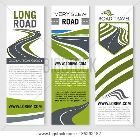 Road travel vector banners set for tourist or transportation company. Design of highways and motorways path for road building technology and transport journey trip