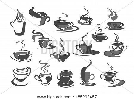 Coffee cups vector icons set for coffehouse, cafeteria or cafe templates or menu element. Symbols of hot chocolate mug with americano, frappe latte, strong espresso cup or macchiato for coffee shop