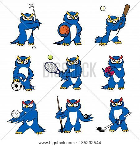 Cartoon owl vector icons of kid pet funny mascot character. Bird playing sport games rugby ball or football soccer and basketball, baseball bat, tennis racket and billiards cue or golf club and hockey