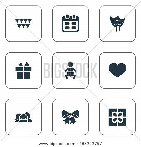 Vector Illustration Set Of Simple Holiday Icons. Elements Ribbon, Days, Soul And Other Synonyms Family, People And Resonate.