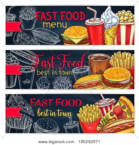 Fast food restaurant menu vector banners of meals, snacks, drinks and desserts. Fastfood sandwiches or cheeseburger and hamburger, pizza and hot dog, chicken barbecue wing, french fries and ice cream