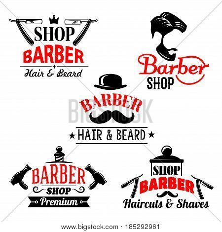 Barber shop premium icons set. Vector isolated symbols of man beards and mustaches haircuts. Barber tools shaving razor or hairbrush comb and scissors for hairdresser hipster coiffeur