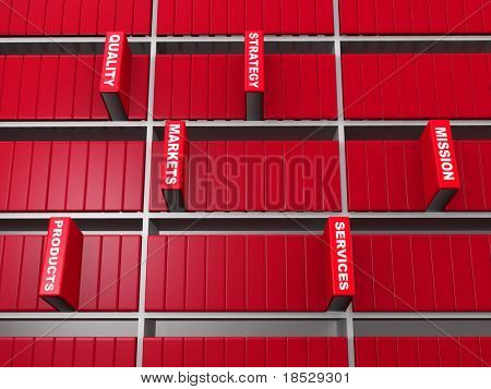 Business objective concept red book stand out from bookshelf 3d illustration