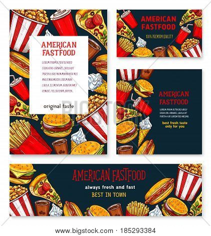 Fast food restaurant banners set. Vector fastfood sandwiches or cheeseburger and hamburger meals, chicken wings and french fries snacks. soda drinks and ice cream or cookie desserts