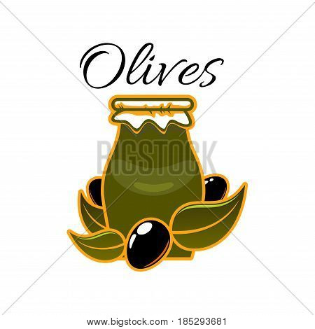 Olive oil jar or bottle with black olives branch. Vector olive preserves symbol for extra virgin natural organic oil product of Italian and Greek cuisine or for product label design