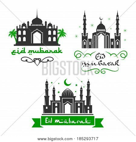 Eid Mubarak Muslim religious celebration greetings. Vector icons set of mosque in crescent moon and twinkling star for traditional Islamic or Blessed Eid Mubarak