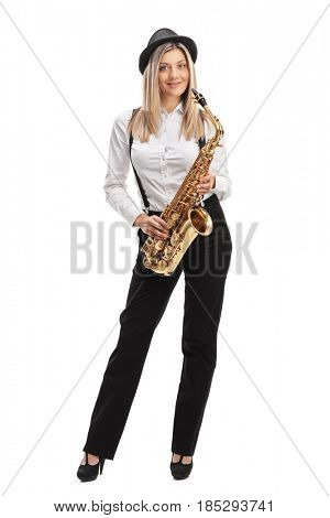Full length portrait of a female jazz musician with a saxophone isolated on white background