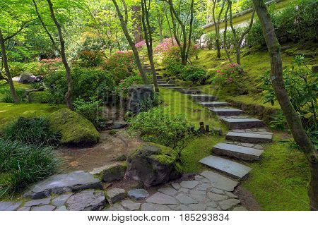 Stone Stair Steps at Portland Japanese Garden in Spring Season