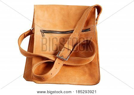 Leather of bag on a white background.
