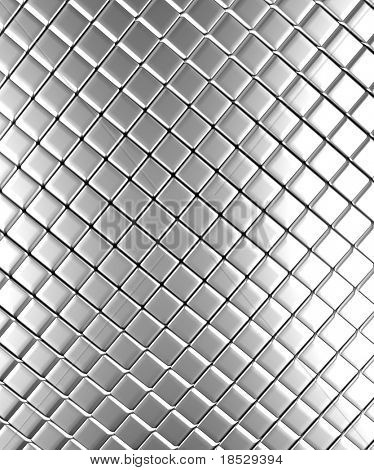Square pattern aluminum background 3d rendered