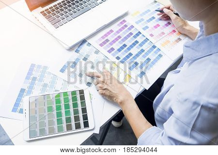 Interior Design Or Graphic Designer Renovation And Technology Concept - Woman Working With Colour Sa