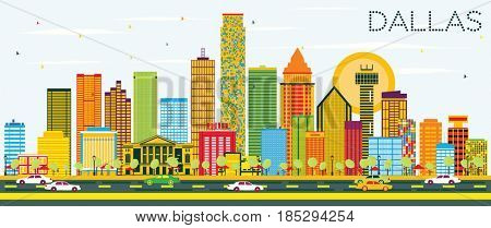 Dallas Skyline with Color Buildings and Blue Sky. Business Travel and Tourism Concept with Modern Buildings. Image for Presentation Banner Placard and Web Site.