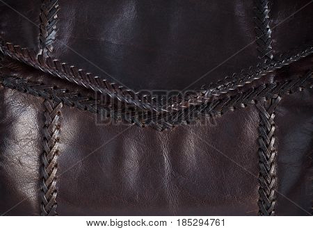 texture and the seam on the leather bag.