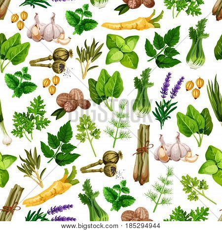 Spices and herbs seamless vector pattern of lemongrass and poppy, nutmeg, bay leaf and dill, peppermint and anise, parsley seasoning and tarragon flavoring, rosemary and sage with vanilla and cinnamon