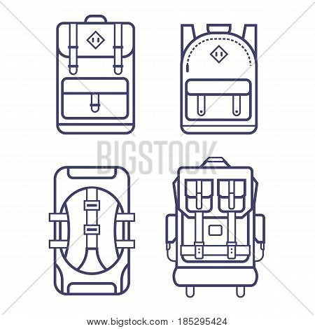 Different types of backpacks in thin line design. Hiking, school, casual, classic back packs and rucksacks. Line vector backpacks icon set.